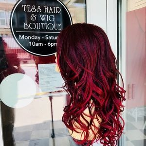 Accessories - Wig Burgundy wine magenta ombré wig Lacefront 2019
